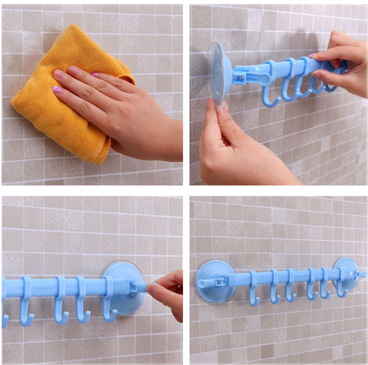 Thanh treo nhà tắm kèm 6 móc