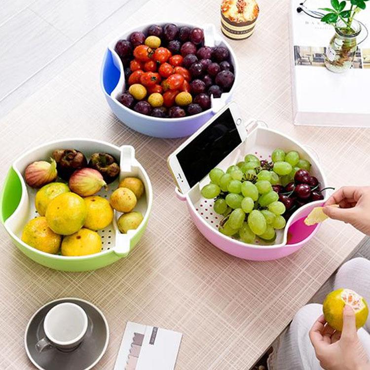 Giỏ trái cây sáng tạo có kệ đựng điện thoại
