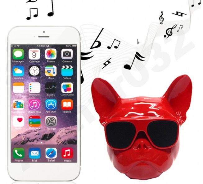Loa Bluetooth hình đầu chó đeo kính
