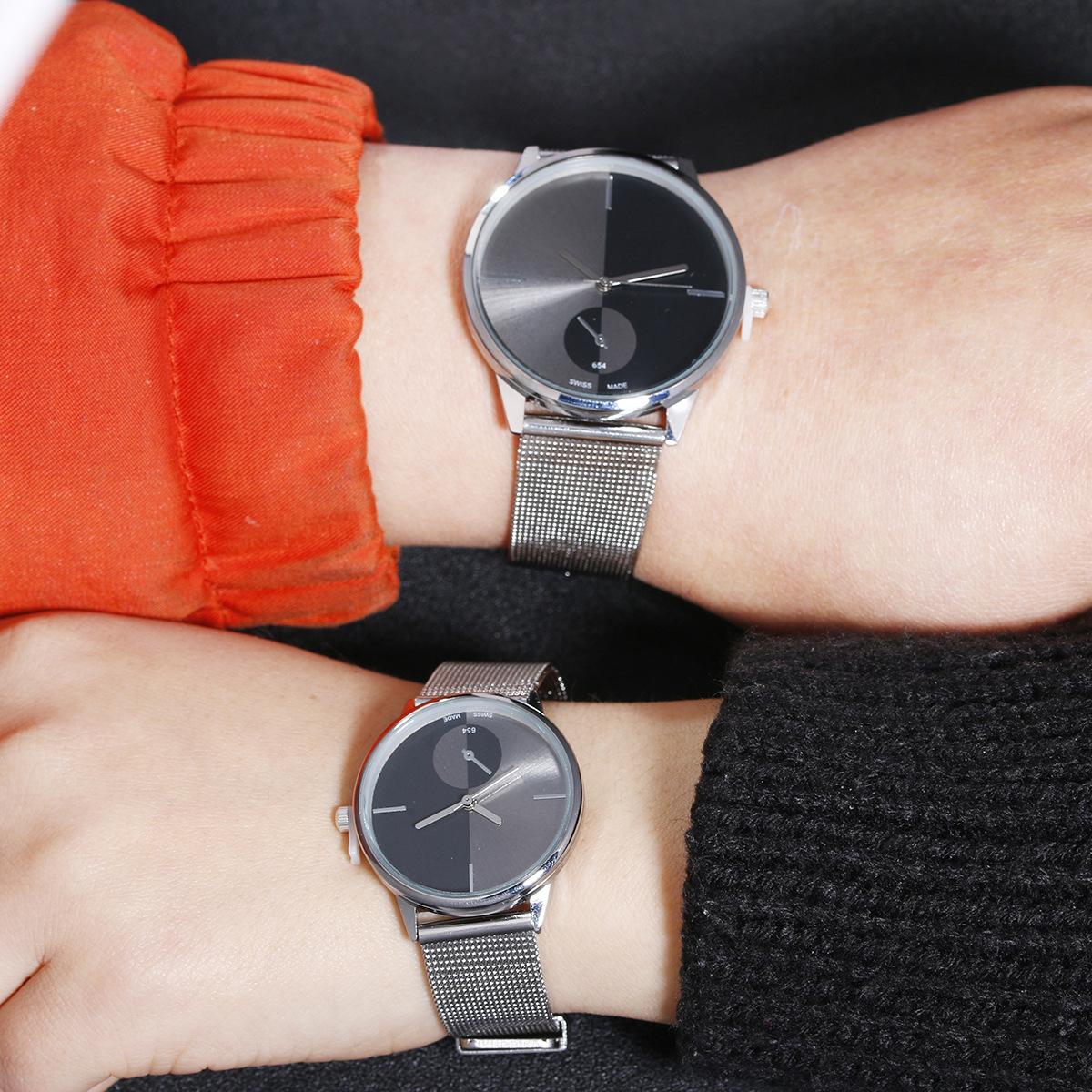 Đồng hồ không số đen cho nam và nữ