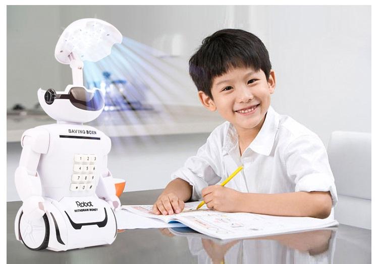 Đèn học robot phát nhạc có két đựng tiền