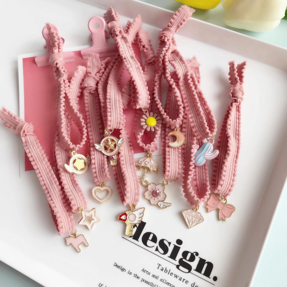 Dây cột tóc ren màu hồng