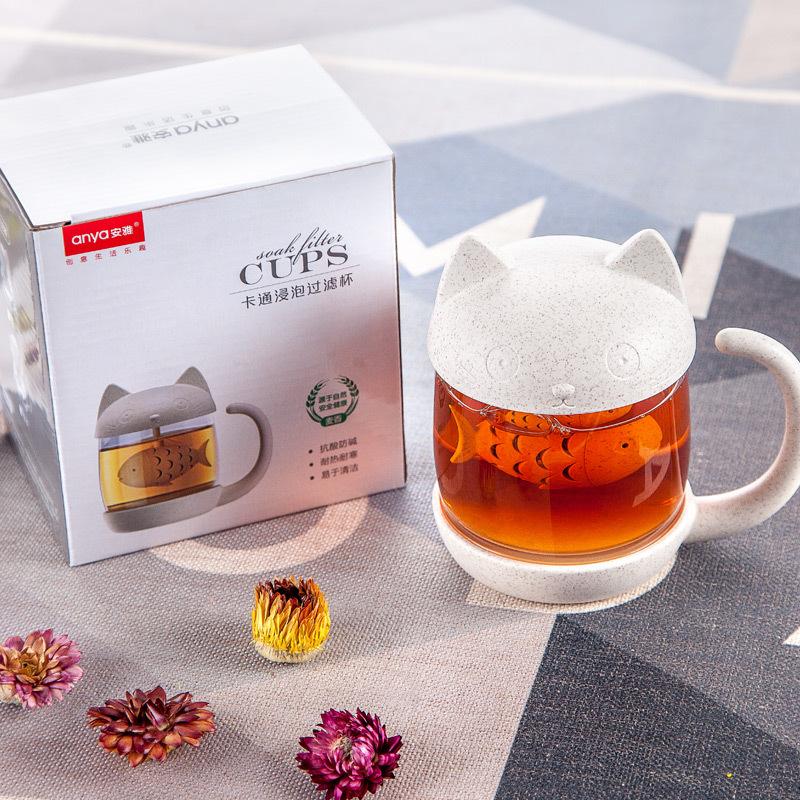 Ly thủy tinh pha trà có nắp hình mèo