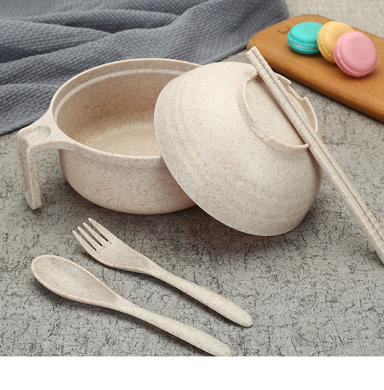 Bộ ca mỳ lúa mạch có nắp, dũa, muỗng, nĩa