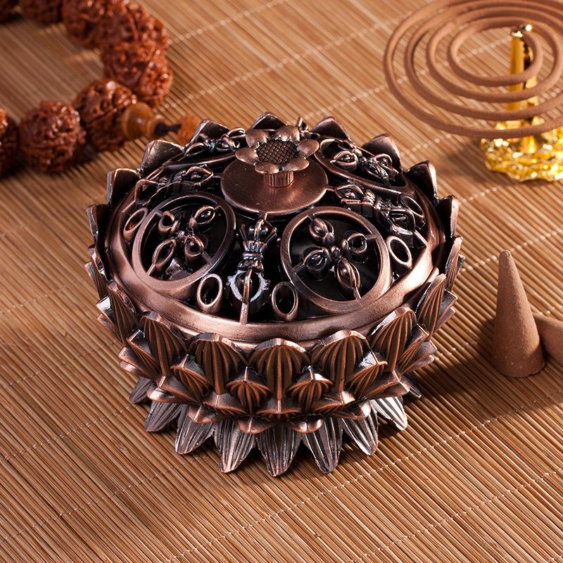 Lư đồng đốt hương hình hoa sen