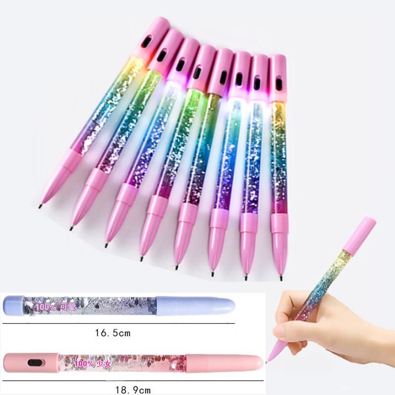 Bút bi trang trí nước kim tuyến có đèn