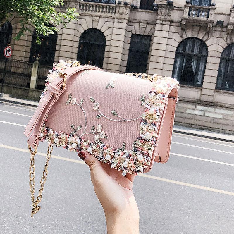 Túi xách thời trang thêu hoa đinh cườm (màu xanh, trắng, hồng)