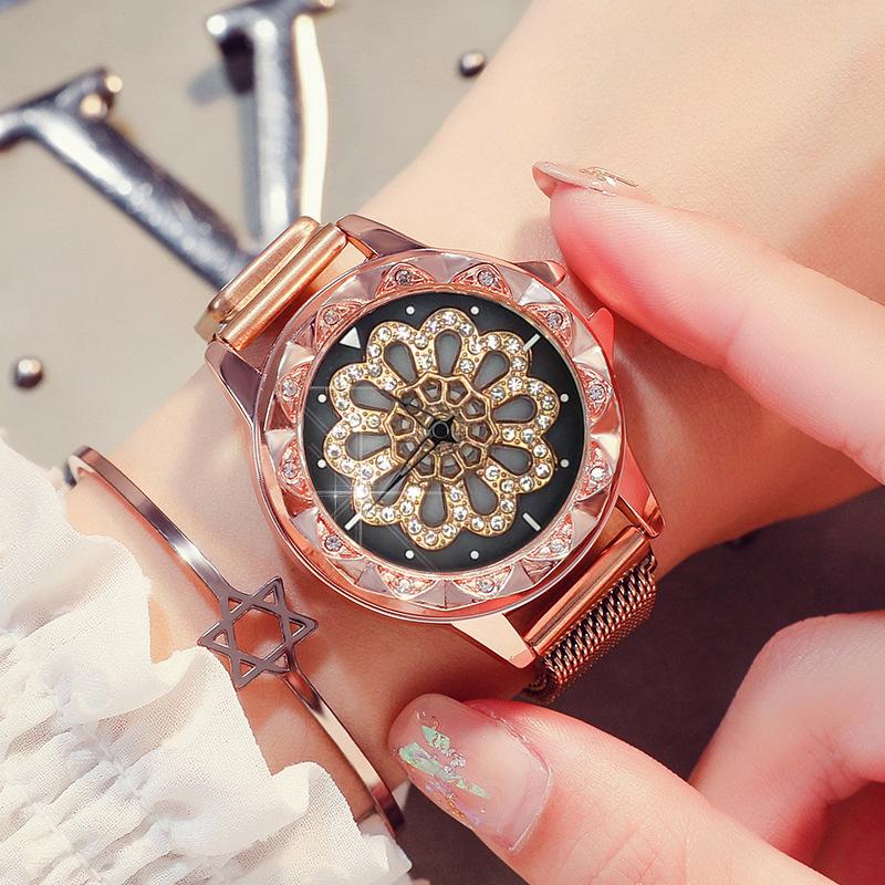 Đồng hồ nam châm mặt hình hoa xoay