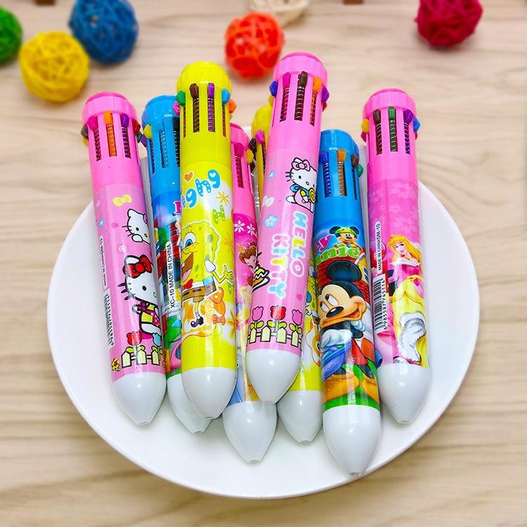 Bút bi 10 màu hoạt hình cho bé