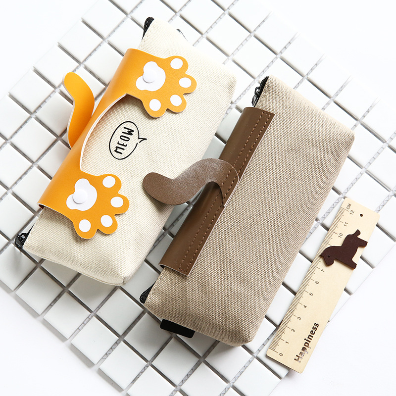 Hộp đựng bút bằng vải hình chân mèo