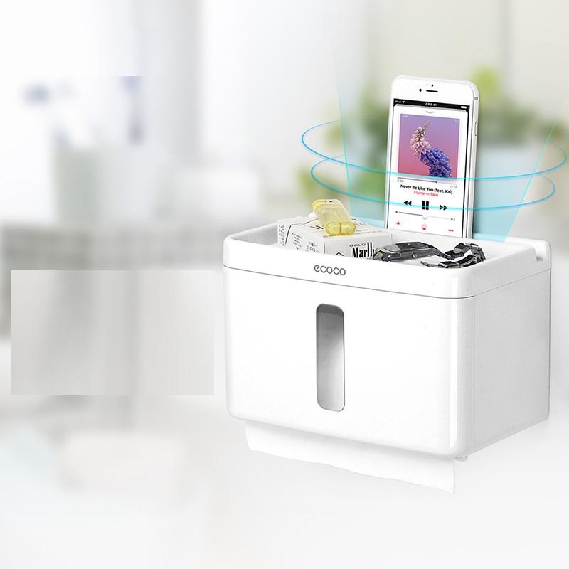 Hộp đựng giấy vệ sinh có kệ đựng điện thoại Ecoco